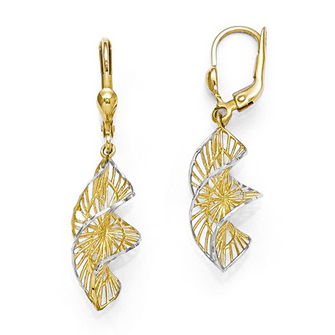 14kt Yellow Gold 1 1/2in Spiral Leverback Earrings
