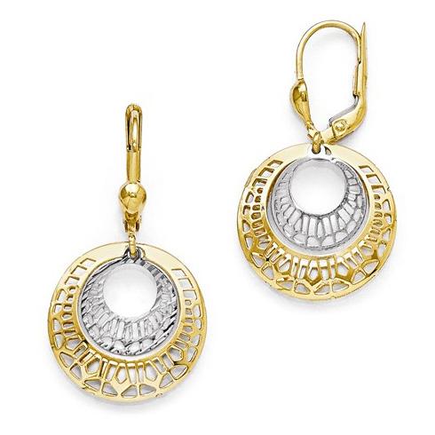 14kt Two-tone Gold 1 3/8in Fancy Round Leverback Earrings