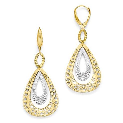14kt Two-tone Gold 2 1/4in Italian Tear Drop Leverback Earrings