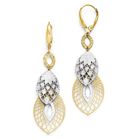 14kt Two-tone Gold 2 1/2in Pointed Ovals Leverback Statement Earrings