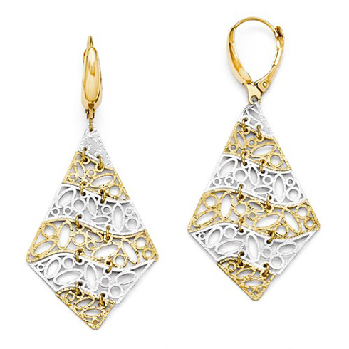 14kt Two-tone Gold Pointed Leverback Earrings with Oval Motif
