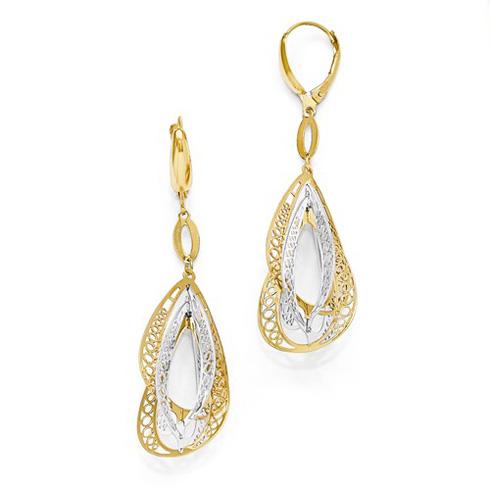 14kt Two-tone Gold 2 3/8in Italian Open Tear Drops Statement Earrings