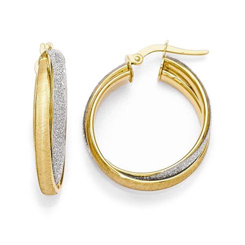 14kt Two-tone Gold 1in Italian Glimmer Fancy Hoop Earrings