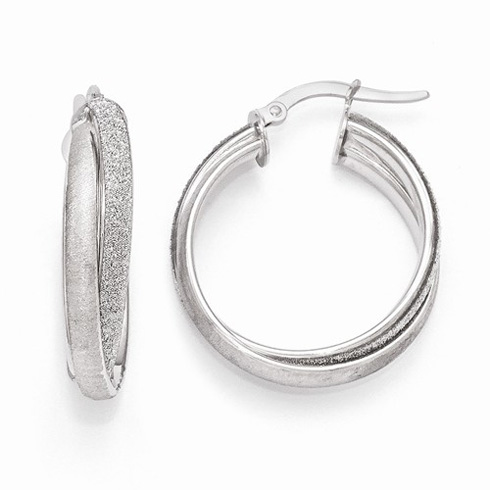 14kt White Gold 1in Italian Glimmer Fancy Hoop Earrings