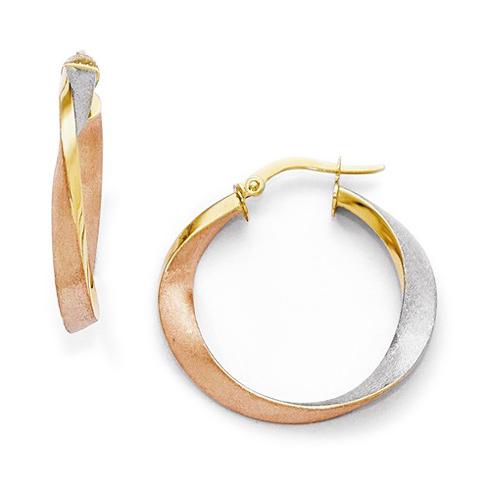 14kt Tri-Color Gold 1in Italian Satin Hoop Earrings
