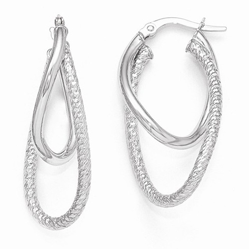 14kt White Gold 1 1/4in Italian Textured Polished Oval Hoop Earrings