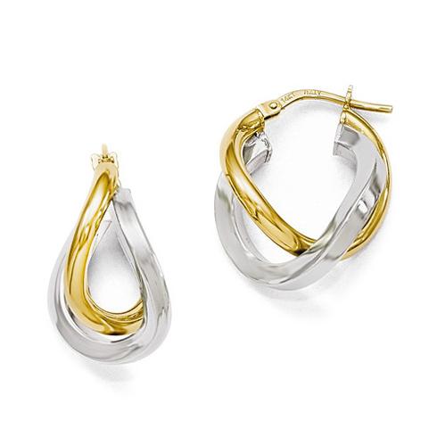 14kt Two-tone Gold 7/8in Italian Interwoven Hoop Earrings