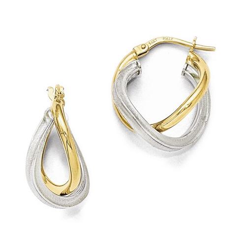 14kt Two-tone Gold 7/8in Italian Textured Interwoven Hoop Earrings