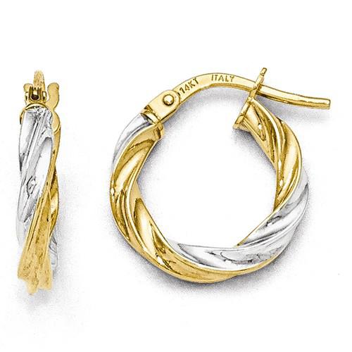 14kt Two-tone Gold 5/8in Italian Twisted Hoop Earrings