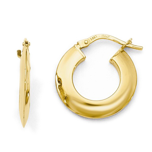 14kt Yellow Gold 3/4in Knife Edge Hoop Earrings 2mm
