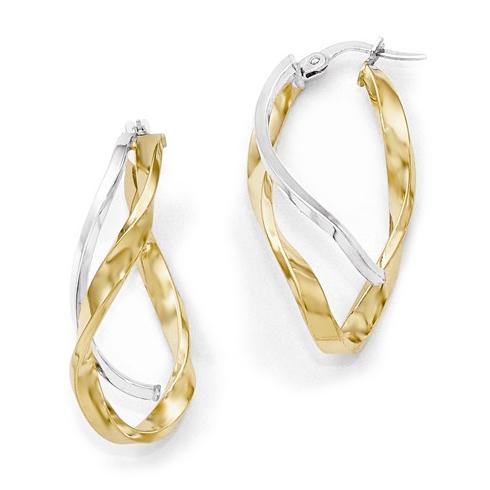 14kt Two-tone Gold 1 1/4in Italian Textured Hoop Earrings