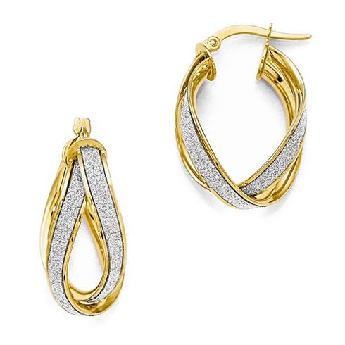 14kt Yellow Gold 1in Italian Textured Double Twist Hoop Earrings