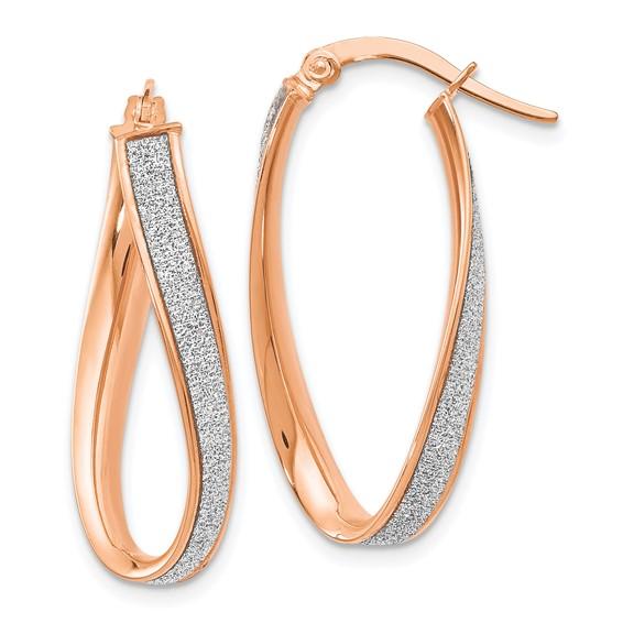 14kt Rose Gold 1in Italian Glitter Twist Oval Hoop Earrings