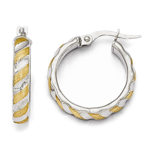 14kt Two-tone Gold 3/4in Italian Textured Hoop Earrings