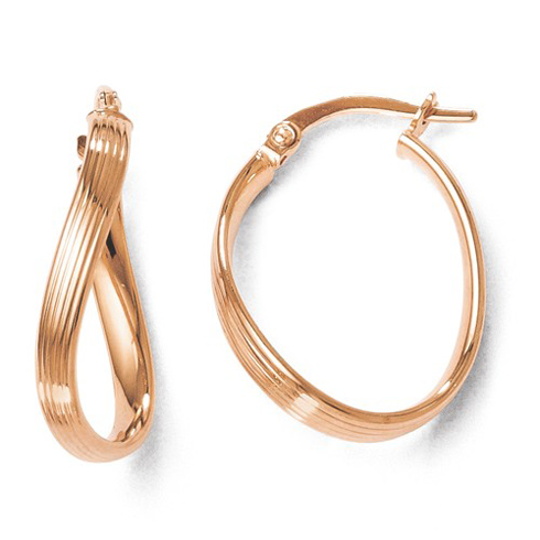 14kt Rose Gold 3/4in Italian Twisted Hoop Earrings with Grooves