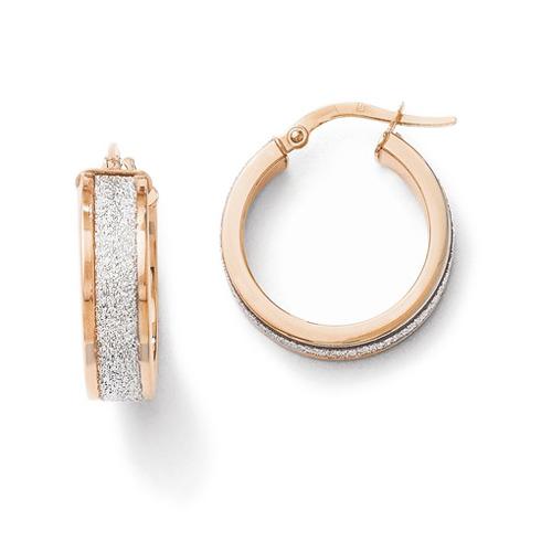 14kt Rose Gold 3/4in Glitter Hinged Hoop Earrings