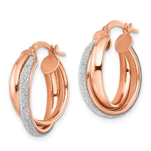 14kt Rose Gold 3/4in Glitter Wrapped Hoop Earrings