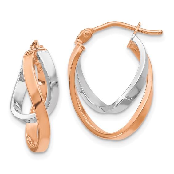 14kt Rose Gold 5/8in Italian Interlaced Hoop Earrings
