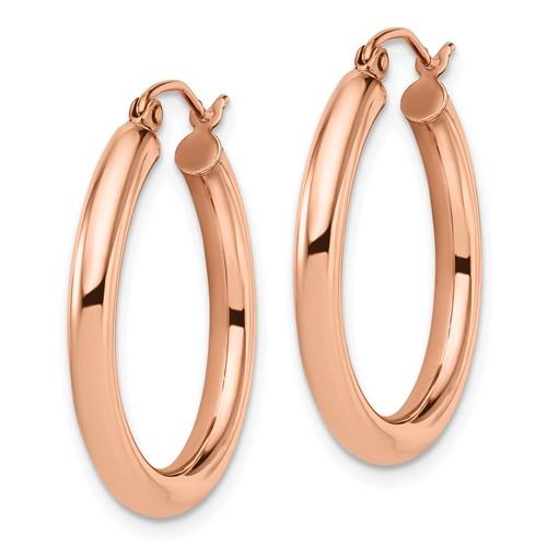 14kt Rose Gold 1in Round Hoop Earrings 3mm