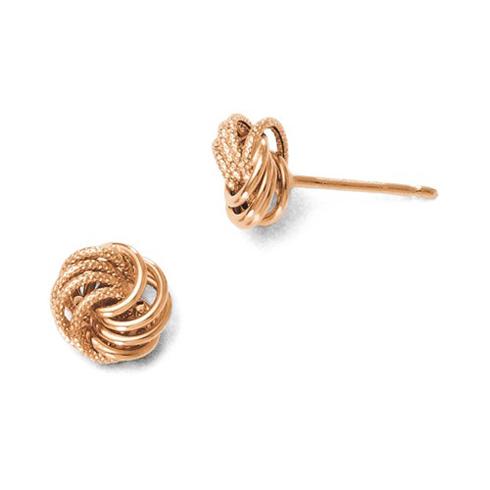 14kt Rose Gold Italian Textured Love Knot Earrings
