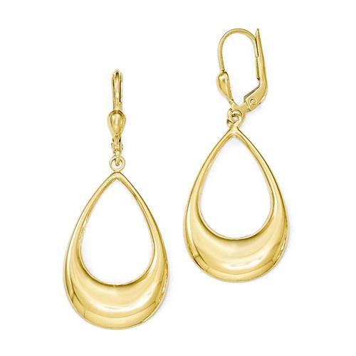 14kt Yellow Gold 1 5/8in Teardrop Dangle Leverback Earrings