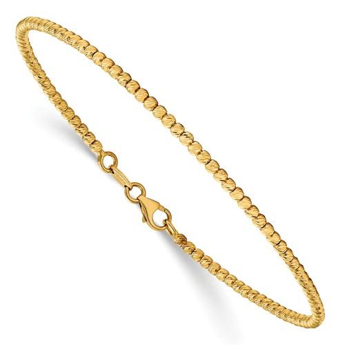 14k Yellow Gold Diamond-cut Beaded Bracelet 7in