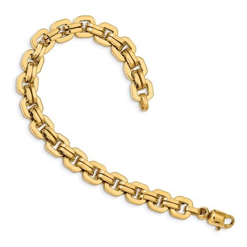 14k Yellow Gold Men's Italian Square Link Polished Bracelet 8.5in