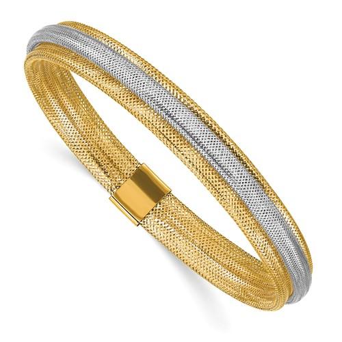 14k Two-tone Gold Stretch Wrap Mesh Bracelet