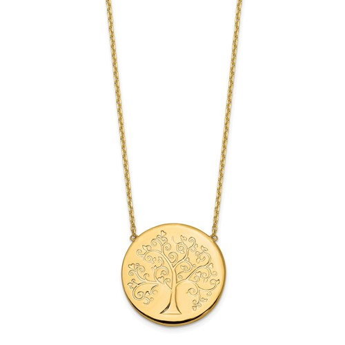 14k Yellow Gold Round Tree of Life Necklace