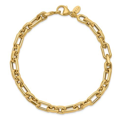 14k Yellow Gold Men's Italian Long Open Cable Link Bracelet 8.5in