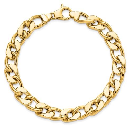 14k Yellow Gold Men's 8.5in Curb Link Bracelet 8.8mm