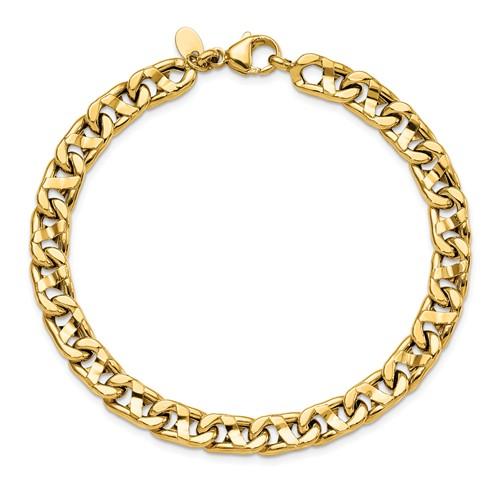 14k Yellow Gold Men's Anchor Link Bracelet 8.5in
