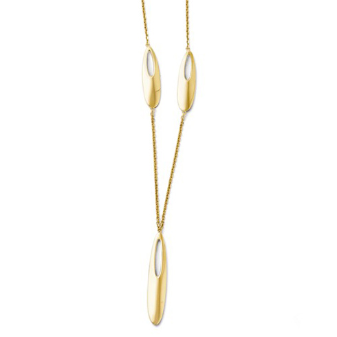 14kt Yellow Gold Cut-out Oval 18in Necklace