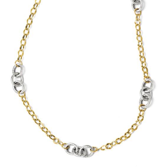 14kt Two-tone Gold 18in Italian Triple Hoop Link Necklace