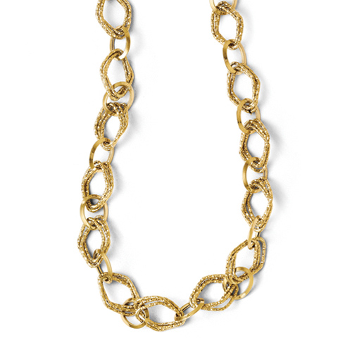 14kt Yellow Gold 18in Italian Pointed Oval Link Necklace