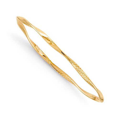 14kt Yellow Gold 2.75mm Italian Slip-on Twisted Textured Bangle