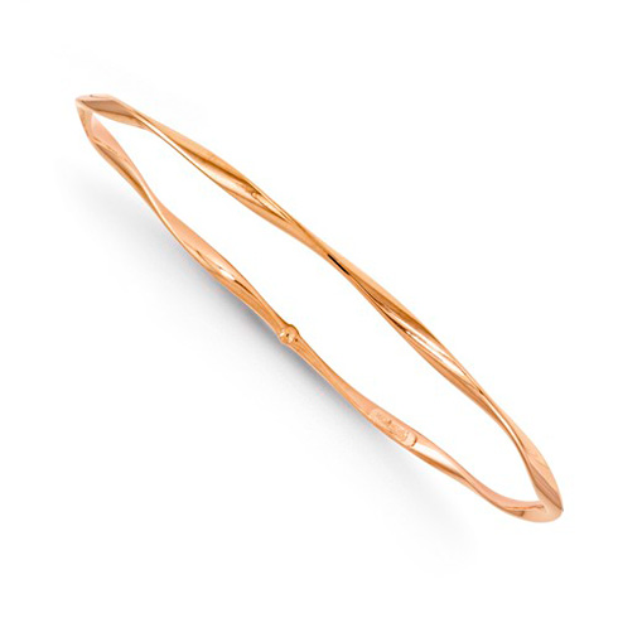 14kt Rose Gold 2.75mm Italian Slip-on Twisted Bangle Bracelet 8in