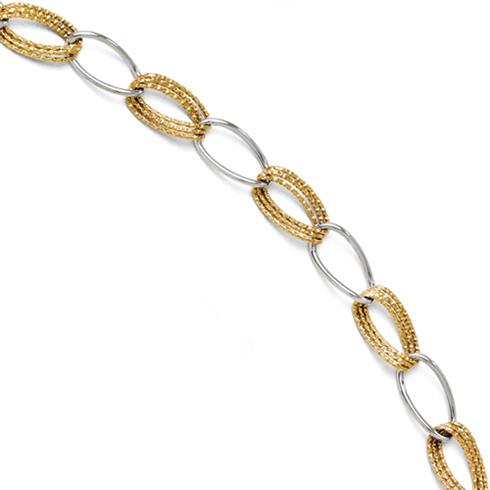 14kt Two-tone Gold 7 1/2in Textured Fancy Link Bracelet