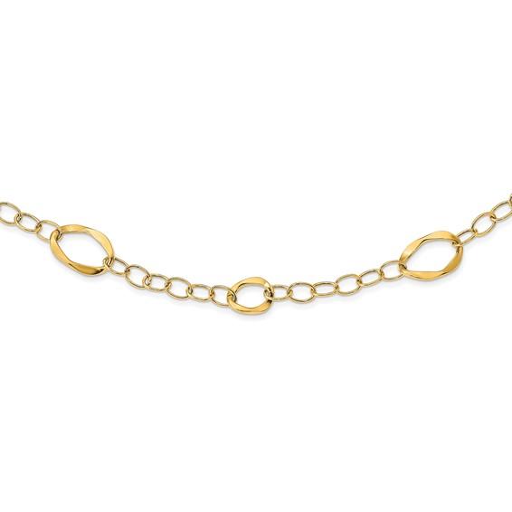 14kt Yellow Gold 17in Italian Fancy Oval Link Necklace