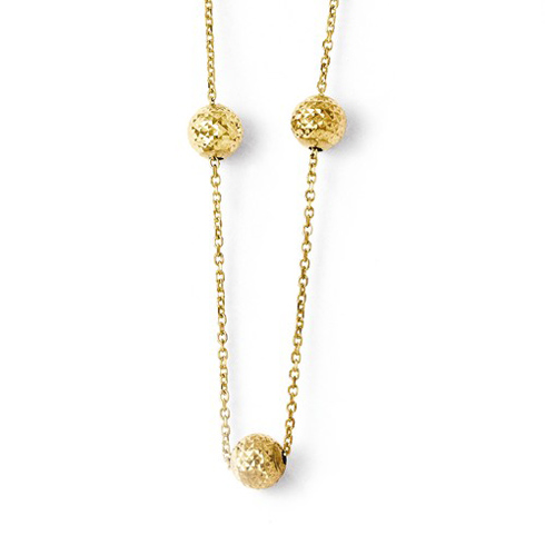14kt Yellow Gold Italian Diamond-cut Three Bead Necklace