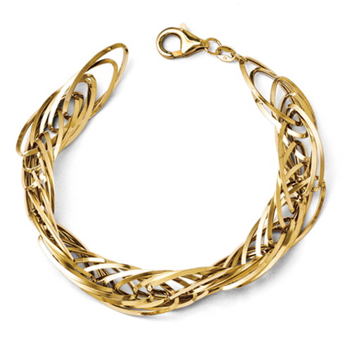 14kt Yellow Gold 7 1/2in Elongated Woven Oval Link Bracelet
