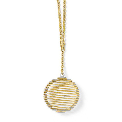 14kt Two-tone Gold 3/4in Wire Wrapped Round Necklace