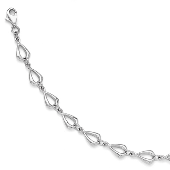 14kt White Gold 7 1/2in Textured and Polished Link Bracelet