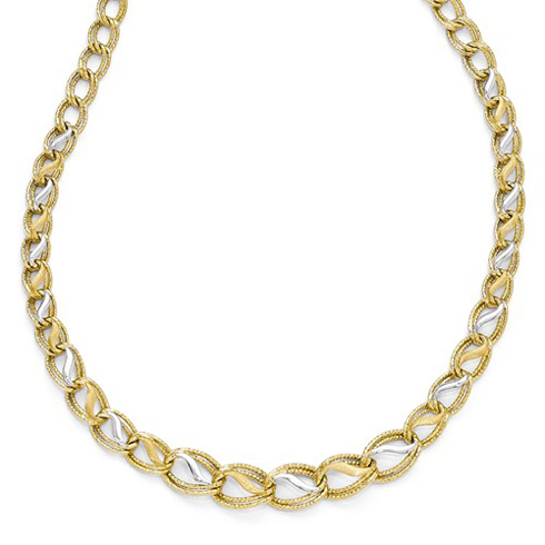14kt Two-tone Gold Textured Link 16 3/4in Necklace