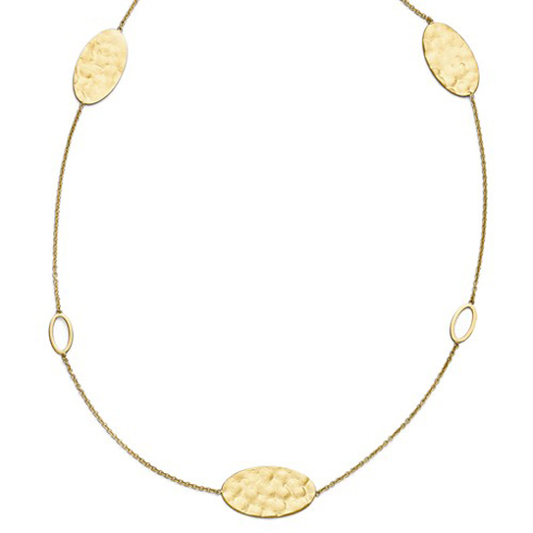 14kt Yellow Gold Textured Oval Station 18in Necklace