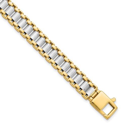 14k Two-tone Gold 8.25in Men's Italian Link Bracelet 9.25mm
