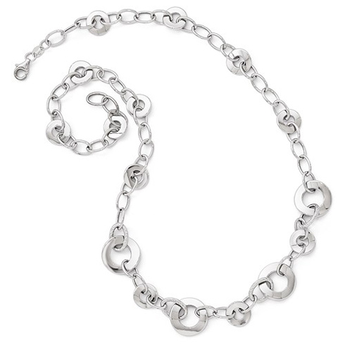 14kt White Gold Circle and Oval Link 18in Necklace
