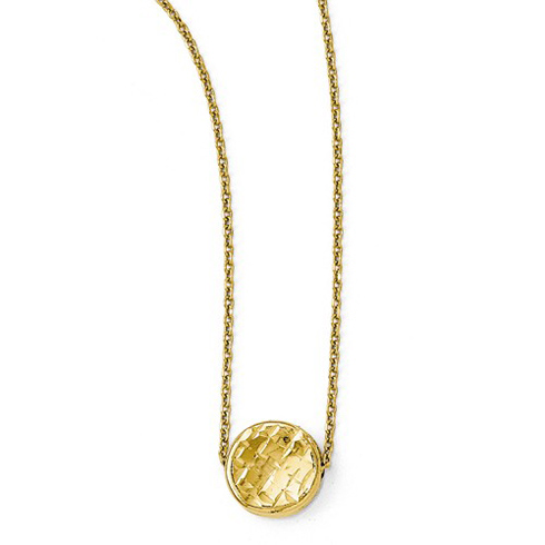 14kt Yellow Gold Textured Disc on 17in Necklace