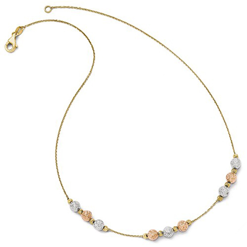 14kt Tri-tone Gold Textured Bead 17in Necklace