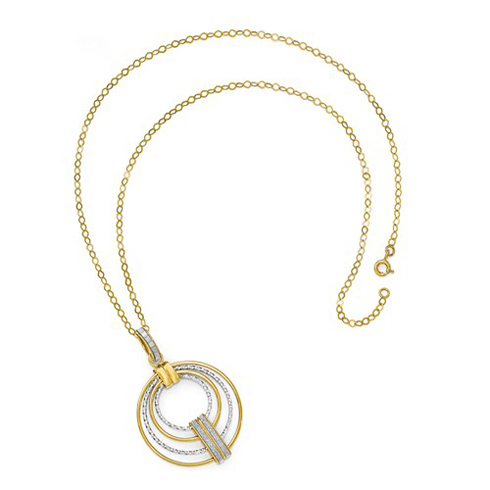 14kt Two-tone Gold Fancy Circle Glimmer 18in Necklace